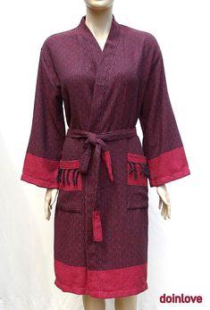 Women's L/men's M size red and black colour soft Turkish cotton warm bathrobe without hood.