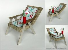 Liegestuhl als Verpackung für ein Geldgeschenk A customer had ordered a deckchair made of paper for a gift of money during summery times. Deck Chairs, Outdoor Chairs, 3d Paper Crafts, Diy And Crafts, Exploding Boxes, 3d Cards, Explosion Box, Marianne Design, Garden Theme