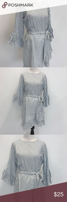 Who What Wear striped dress Who What Wear for Target blue & white striped dress with frill sleeve and hem detail. Tie waist. Back button closure. Who What Wear Dresses Mini