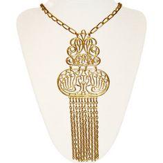 Trifari Tassel Necklace Lovebirds Signed 1970s by PearlModern, $85.00