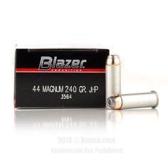 Blazer 44 Magnum Ammo - 1000 Rounds of 240 Grain JHP Ammunition #44Magnum #44MagAmmo #Blazer #BlazerAmmo #Blazer44Mag #JHP