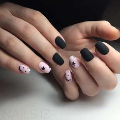 Elegant Black And White Nail Art Designs You Need To Try; Elegant Black And White Nail Art Designs; Elegant Black And White Nail; Black And White Nail; Black And White Nail Art Designs; Black Nail Designs, Short Nail Designs, Acrylic Nail Designs, Pink Black Nails, Black And White Nail Art, Matte Black, Black Art, Stylish Nails, Trendy Nails
