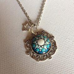 Purple Dotart Mandala Pendant Necklace Glass Jewelry Gift Mother's Day gift Dotilism Dotart