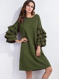 Army Green Ruffle Sleeve Tee Dress