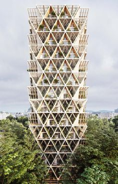 Architecture studio Precht has designed a timber skyscraper concept that combines modular housing and vertical farming. Modular Housing, Modular Homes, Prefab Homes, Tower Building, Building Systems, Agriculture Verticale, A As Architecture, Triangular Architecture, Farmhouse Architecture