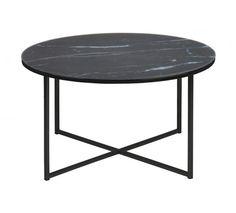 Filippa Sofabord - Rundt sofabord med sort marmorbordplade