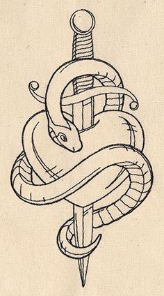 Cool Art Drawings, Art Drawings Sketches, Tattoo Sketches, Easy Drawings, Tiny Tattoo, Tattoo You, Snake And Dagger Tattoo, Dagger Drawing, Snake Drawing