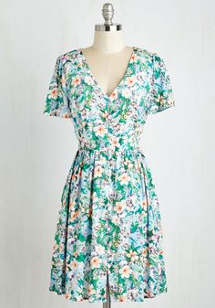 Aviary Anniversary Dress - Mid-length, Woven, Multi, Green, Floral, Print, Casual, A-line, Short Sleeves, Summer, Good