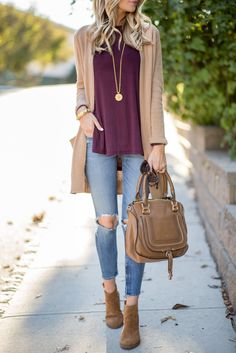 Fall Uniform // Burgundy and Tan