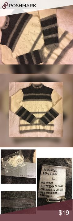 Lucidity Sweater NWT Size L Lucidity Sweater NWT Size L - Gray, Ivory, Cream Wool - Fur Sweater Lucidity Sweaters