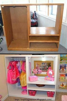 Sophia Grace & Co. - Dress up station for kids playroom. Cute way to store dress up clothes. Easy dress up storage Project to DIY. Dress Up Stations, Dress Up Storage, Toy Rooms, Little Girl Rooms, Repurposed Furniture, Wooden Furniture, Diy Childrens Furniture, Children Furniture, Cardboard Furniture