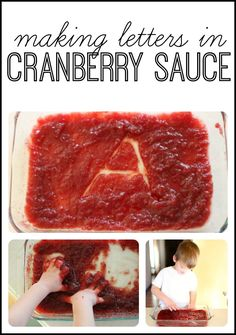 Forget shaving cream!  Make letters in cranberry sauce instead.