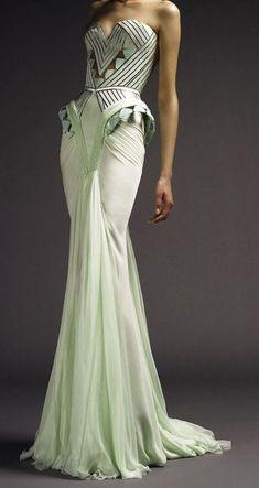 Atelier Versace Art Deco style gown in pale mint Beautiful Gowns, Beautiful Outfits, Gorgeous Dress, Gorgeous Gorgeous, Beautiful Lines, Looks Style, My Style, Vestidos Fashion, Estilo Art Deco