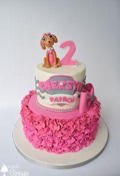 Skye Paw Patrol 2nd Birthday Cake with Ruffles, Chevron & Bow