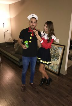 diy olive oyl and popeye costume thanksgiving fall pinterest kost m halloween kost m und. Black Bedroom Furniture Sets. Home Design Ideas