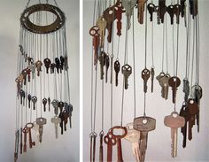 It makes me think of other items to hang for the wind chimes.Key wind chime on round sprinkler head?I'm going to use some old metal embroidery hoops. Hubby's parents never threw away a single key. Have hundreds to work with. Diy Projects To Try, Crafts To Do, Craft Projects, Arts And Crafts, Craft Ideas, Old Key Crafts, Diy Ideas, Metal Projects, Carillons Diy