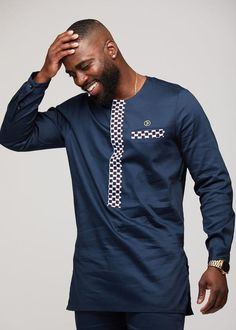 Lekan Men's African Print Traditional Shirt Dress (Blue White Checkers) – Clearance African Wear Styles For Men, African Shirts For Men, African Dresses Men, African Attire For Men, African Tops, Modern African Clothing, African Clothing For Men, African Clothes, Nigerian Men Fashion