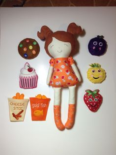 I made this doll, felt bean bags and felt play snack food in the hoop of my embroidery machine for my granddaughter, Alice. Bean Bags, Goldfish, Gifts For Family, Machine Embroidery, Hoop, Snack Recipes, Alice, Felt, Play