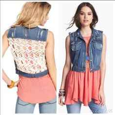 Free People Denim Distressed Vest GOOD PRELOVED CONDITION   FREE PEOPLE NATURAL CROCHET BACK DENIM DISTRESSED VEST  SIZE MEDIUM  NO RIPS STAINS OR PILING   SMOKE AND PET FREE HOME Free People Jackets & Coats Vests