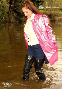 Pink Raincoat, Rain Jacket, Bomber Jacket, Rubber Gloves, Pink Plastic, Rain Wear, Windbreaker, Leather Jacket, Latex