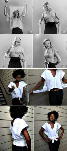DIY Life Magazine Inspired Retro Wrap Top Tutorial from Freshly Given.Whitney at. DIY Life Magazine Inspired Retro Wrap Top Tutorial from Freshly Given Wrap Shirt, Diy Shirt, Fashion Tips For Women, Diy Fashion, Jeans Fashion, Classy Fashion, Petite Fashion, Fashion 2020, Indian Fashion