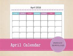 Printable April 2016 Calendar Seasonal by MBucherConsulting Printable Calendars, 2016 Calendar, Marketing Consultant, Trip Planning, Printables, Social Media, Seasons, How To Plan, Etsy