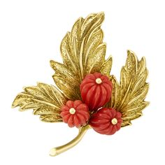 702c28b42 Gold and Fluted Coral Bead Brooch, Tiffany & Co. 18 kt., composed