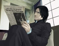 Snape reading the newspaper