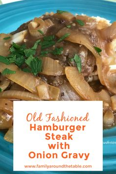 Old Fashioned Hamburger Steak with Onion Gravy is reminiscent of diner comfort food. Serve over mashed potatoes. Best Beef Recipes, Easy Homemade Recipes, Easy Meat Recipes, Beef Recipes For Dinner, Side Dish Recipes, Favorite Recipes, Lamb Recipes, Burger Recipes, Steak Recipes