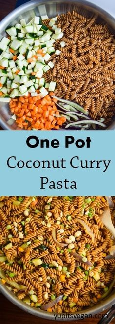 One pot coconut curry pasta in 20 minutes! Easy vegan Thai-inspired dish with coconut milk, red curry paste, ginger, lime, and lots of veggies.