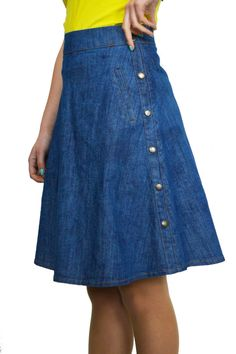 Casual Boutique Knee Length A Line Light Blue Denim Skirt 8 10 12 14 16 18 20 22