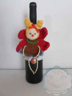 A Cute crocheted Fairy Wine Bottle Cozy to make gifting wine this Christmas magical! She will hug and safeguard the wine with all her Fairy might – but do keep an eye on her, bottle fairie…