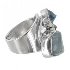 Sterling Silver Aquamarine Blue Cubic Zirconia Adjustable Ring by Lilly Barrack