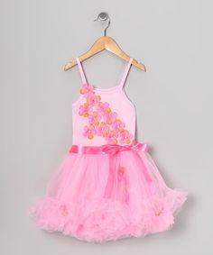 Look what I found on #zulily! Pink Flower Ruffle Dress - Toddler & Girls #zulilyfinds