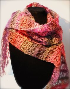 LACY PINK SCARF -  Hand Knit Valentine Gift - varying OMBRE COLORS in Lavender, Mocha, Plum & Coral -by AquaLumen, $58.00