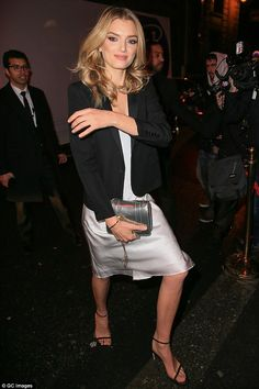 Super chic:Lily Donaldson showed off herenviably slim figure in a metallic slip dressat the L'Oreal dinner in Paris on Sunday night