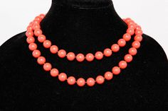 Lucite Coral Single Strand Necklace by GenusJewels on Etsy