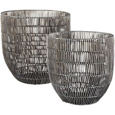 heavy metal baskets (planters) | CB2 - Large $79.95 16dia 16H /Small $49.95 13 Dia 13H - Woven Wicker coated with aluminum - painted gleaming metallic finish