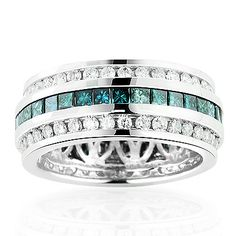 This luxurious white and blue diamond eternity ring in 14K gold weighs approximately 6 grams and showcases 2.64 carats of princess cut and round diamonds.