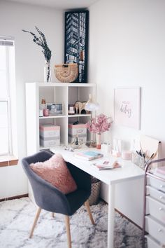 Marble and Pink Home Office