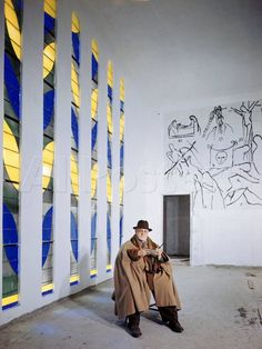 """Henri Matisse in the chapel he created in Vence. *There is a movie on this process, called """"A Model for Matisse"""", which focuses on his friendship and collaboration with a French Dominican nun, Sister Jacques-Marie. It is a magical documentary that beautifully touches on the honoring and love the two had for each other ♡♡"""