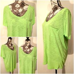 American Eagle Aerie Lime Green Short Sleeve 1 Pocket Shirt Top Plus Size XXL #AmericanEagleOutfitters #KnitTop #Casual #AmericanEagle #AeriePlusSize #AmericanEaglePlusSize #LimeGreenShirt #PlusSizeFashion #PlusSize