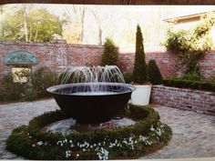 New Orleans syle courtyard with sugar kettle fountain