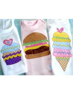 Fun Food Applique Designs    Technique - Sewing    The possibilities are endless! You can applique these designs on T-shirts, one-piece rompers, tote bags, quilt blocks or bibs. There are four yummy designs -- a cupcake, ice-cream cone, strawberry and cheeseburger. The food may be created as simple appliqués, or they may be embellished with hand embroidery, rickrack and buttons. The ice-cream cone may be made as a one-scoop, two-scoop or three-scoop design.