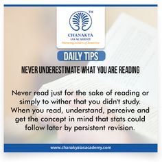 #DailyTips  #NeverUnderestimateWhatYouAreReading #CurrentAffairs Never read just for the sake of reading or simply to wither that you didn't study. When you read, understand, perceive and get the concept in mind that stats could follow later by persistent revision. #UPSC #IasExam brought to you by #ChanakyaIasAcademy