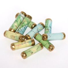 Paper beads from recycled maps.