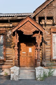 Old wooden house in Omsk, the capital of Western Siberia, Russia.