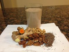 Smoothie with ginger and turmeric - yum and can help to get your systemic inflammation in check. 2 birds my friends.