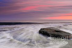 Coquina Rocks Washed by Ocean Waves At Colorful Sunset Photograph by Jo Ann Tomaselli - Coquina Rocks Washed by Ocean Waves At Colorful Sunset Fine Art Prints and Posters for Sale