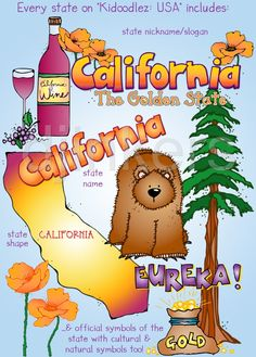 California clip art, USA clip art, cute clip art for teachers